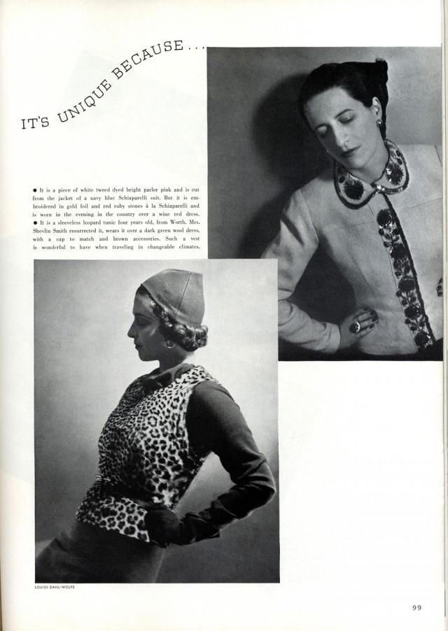 "In alto a destra, Diana Vreeland modella per Louise Dahl-Wolfe su ""Harper's Bazaar"", aprile 1937"