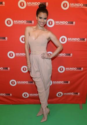 Roselyn Sanchez wears the pink powder elegance at Mundo Fox